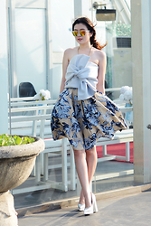 Wulan Wu - On The Rocks Linen Skirt, Little N Collection Bow Tops - BLUE HUES