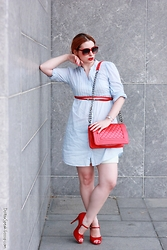 Call me M - H&M Shirt Dress, Buffalo London Pumps - Red, white & blue