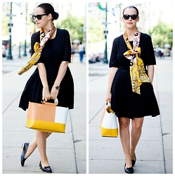Veronica P - Charlotte Olympia Shoes, Bag, Hermès Scarf, Dress - Just add a bow