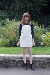 Rebekah D - New Look Dress, Russell & Bromley Boots - White Dungaree Dress