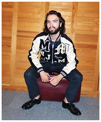 Max. G - Marc By Jacobs Satin Varsity Jacket, Karl Lagerfeld Waxed Black Jeans, Church's Black Dress Shoes - You are what I can't feel