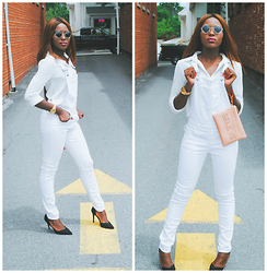 Oby Grace - Guess White Overalls, Charlotte Russe Pumps - White Overalls