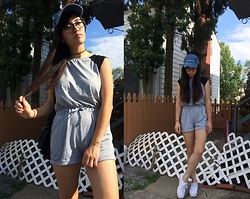 Sheila - Dressgal Romper, Union Bay White Flatform Sneakers - Ready For the Game