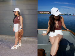 Michelle Erica M. - Adidas Baseball Cap, Missguided Leotard, Boohoo Skort, Boohoo Sandals - Keep your head up