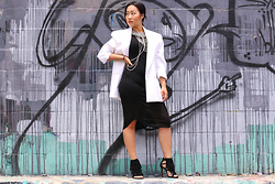 Nicole Kim - Vintage White Blazer, Nasty Gal Statement Necklace & Body Chain, Urban Outfitters Black Midi Dress, Steve Madden Black Suede Fringe Heels - Statement