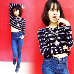 Alixandrea O. - Zara Black & White Striped Crop Top, Something High Waist Denim Pants - Black & Denim