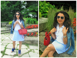 Well-Put-Together WPT - Target Dress, Balenciaga Shoes, Salvatore Ferragamo Bag, Anthropologie Denim Jacket, Ray Ban Sunglasses, Omega Watch - Out and About