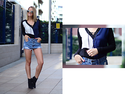 L M - Zara Lace Up Top, Bcbg Chunky Heeled Black Boots, Sheinside Ripped Denim Shorts - Let's get leggy!