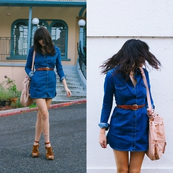 Kacie Cone - Free People Dynomite Denim Mini Dress, Free People Sacramento Clog - The Denim Obsession