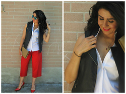 Well-Put-Together WPT - Saint Laurent Clutch, Manolo Blahnik Shoes, Club Monaco Pants, Ivanka Trump Top, Ray Ban Sunglasses - Red Heels & Cameo Necklace