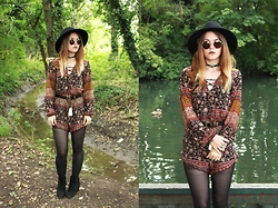 Amy Allatt - Primark Fedora, Peppermayo Playsuit, Primark Belt, Boohoo Suede Tassle Boots, Etsy Concho Choker, Asos Round Sunnies, Ebay Feather Hair Clip - Into the fire feeling higher than the truth