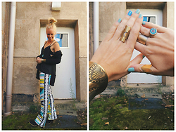 Signe Savant - Newdress Aztec Print Palazzos, Wholesale Buying Low Back Tank, Hl Collection Gold Wrap Ring, Twisted Whimsy Crescent Moon Ring - Do I have to say goodbye to boho?