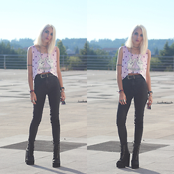 Cátia Gonçalves - Sammydress Top, Pull & Bear High Waist Pants, Jeffrey Campbell Boots -  I'm talking to myself at night Because I can't forget