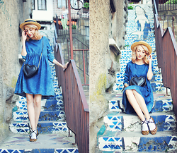 Evelyn Moon - Bershka Denim Dress, Asos Heart Shaped Bag - Sweet Summer Escape