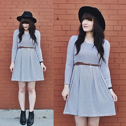 Jocelyn Jacobson - Joelle Dress, Steve Madden Boots, Brixton Messer Hat - Joelle dress