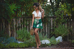 Jessi Malay - Saboskirt Ecru Crop Top, Cult Gaia 90210 Skirt, Gianvito Rossi Gladiator Heels, Cult Gaia Ark Handbag, Dior Technologic Sunglasses In Black/Gold Reflected, Era Jewelry Arrow Link Cuff, Era Jewelry Arrow Point Lariat Necklace, Era Jewelry Jagger Ring - Aloha | Cult Gaia