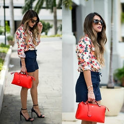 Pam Hetlinger - Topshop Lace Up Shorts, Fendi Red Bag - How to dress up shorts