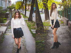 Maryana Yusypchuk - Topshop Skirt, Blouse, Zara Boots - Neverever