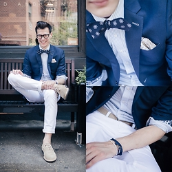 Chris Nicholas - Pocket Square Clothing Bow Tie, Pocket Square Clothing, Indochino Navy Twill Blazer, Indochino Blue Striped Shirt, Levi's® 511 White Denim, Cole Haan Suede, Thread Etiquette Wristwear, Perry Ellis Braided Belt - 158