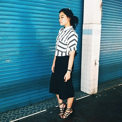 Richeen Siew - Stripes Collar Shirt, Black Culottes, Zalora Strappy Heels - Lines, lines, lines.