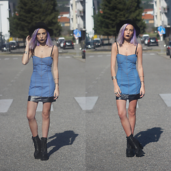 Cátia Gonçalves - Style Moi Denim Dress, Jeffrey Campbell Boots, Parfois Hat - Is someone getting the best of you ?