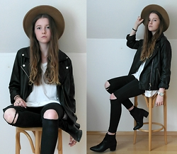 Astrid H - Missguided Leather Jacket, Missguided Hat, H&M Boots, Newdress Watch - Classic