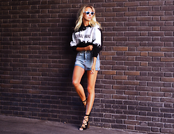 Martina M. - Eleven Paris Sweatshirt, Bik Bok Shorts, Nelly Heels - Astral Wave