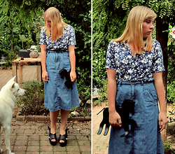 Kayleigh Hamer - Happymall22 Black Unicorn Clutch Bag, Forever 21 Denim Midi Skirt - Carry on - Janne Schra