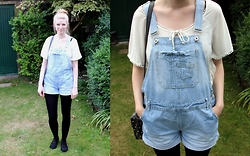 Sammi H - Charity Shop White Gypsy Top, Primark Dungarees - Dungarees and Pom Poms
