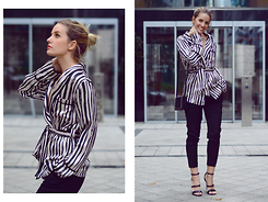 L M - Boohoo Pajama Style Jacket, Allsaints Black Shiny Pants - Straight outta bed