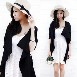 Audrey Tan - Dresslink Straw Hat, Dresslink Black Coat - Summer Dreamin'