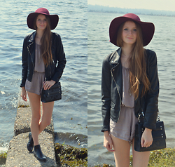 Jennifer M - Zara Leather Jacket, Brandy Melville Usa Romper, Chelsea Boots, Shoe Dazzle Bag, Garage Clothing Floppy Hat - Floppy hat