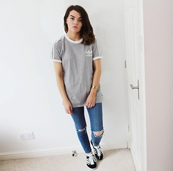 Georgie J - Adidas Tee, Asos Jeans, Adidas Trainers - Three Stripes