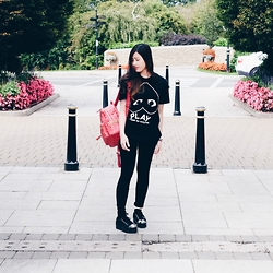 Deasy Tantra - Comme Des Garçons Tshirt, Mcm Backpack, Jeffrey Campbell Shoes - PLAY!