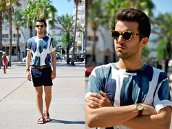 Marc Galobardes - H&M T Shirt, H&M Shorts, H&M Sandals - BLUE CANVAS #HMTOTALOOK