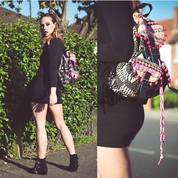 Natalia Homolova - Primark Backpack, Boohoo Dress, Asos Boots - CARNIVAL ready