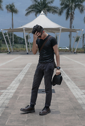 Jayson Santos - Topman Black Shirt, Bench Pants, Milanos Shoes, Uniqlo Hat - Dark Paseo