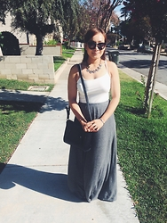 Vencci - Forever 21 Maxi Skirt, Forever 21 White Camisole - Trash Cans In the Back
