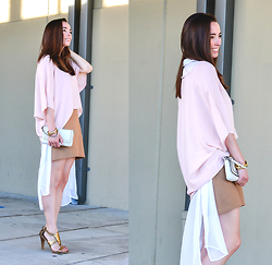 Carissa G. - Asos Top, Bongo Cardigan, Nine West Heels, Gap Skirt, Coach Clutch - Pastel Pink