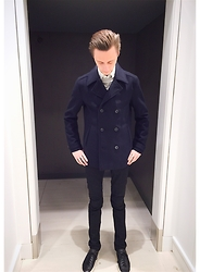 Nathan Copes - Topman Coat, Common Projects Shoes - Pea coat fall pregame