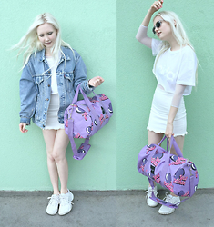 "JoJo Pearson - Levi's® Denim Jacket, Lazy Oaf ""Yes Please"" Bag, Nike White Tennis Shoes, Wolfnoir Sunglasses, Acida White Crop Top, Welovecolors Fishnet Top, Boohoo Raw Edge Denim Skirt - What's a girl to do when she has dimes no time just play"