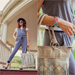 Lily S. - Hat, Bag, Jumpsuit, Bracelet, Tee, Pumps - Laid Back // Instagram @pslilyboutique