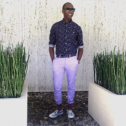 "David Thande - Sperry Topsider Printed Slip Ons, Jcrew Stanton 484 Lightweight Pants, Jcrew D Ring Belt, Gap Print Graphic, Warby Parker Thatcher -   ""South Side"""