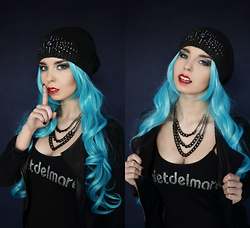 Scandalously She - Accessorize Beanie, Uniqso Kaiou Michiru Blue Wig, Sinsay Black/Silver Chain Necklace, Timer Black Leather & Lace Jacket, Curlycuffs Fake Septum Nose Ring - Starlight