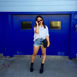 Nicole Kim - Warby Parker Ripley, Jet Rag Vintage Button Down, Vintage Denim Cut Off Shorts, Rebecca Minkoff Black Clutch, Jeffrey Campbell Famous Boot - Blue in Bernal Heights