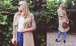 Kayleigh Hamer - Fashion Union Stone Waterfall Front Trench Coat - Youth