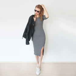 Reingeschlüpft - Zara Leather Jacket, Primark Midi Dress, Zara Sneakers - 4 pieces