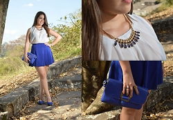 Karen Bartolomeu - Romwe Chiffon White Top, Abaday Royal Blue Skirt - Chiffon White Top and Royal blue Skirt