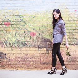 Ren Rong - Dressgal Grey Linen Top, Dressgal Pu Leggings, Sidewalk Patent Heels - SECRET AGENT CAT LADY