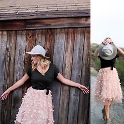 Pasadena Charm - Eva Franco Fluttered Fete Midi Skirt, Anthropologie Leona Rancher Hat - Girl in the Pink Skirt